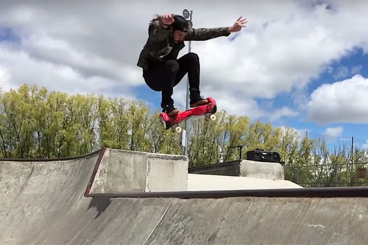 This guy made a skateboard out of a hoverboard