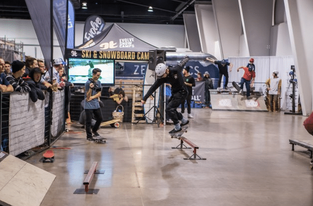 Practicing some tricks at the 2015 Toronto Snow Show