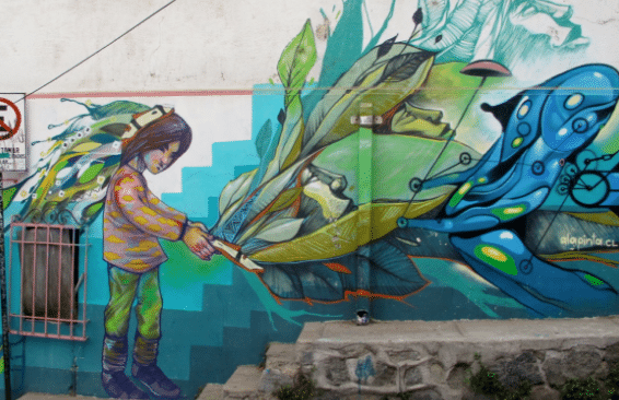 The kind of street art you'd find in Valparaíso