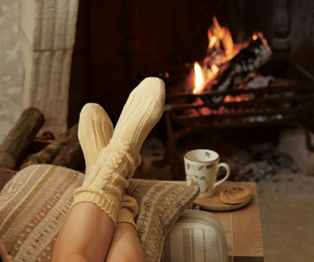 relaxing by the fire