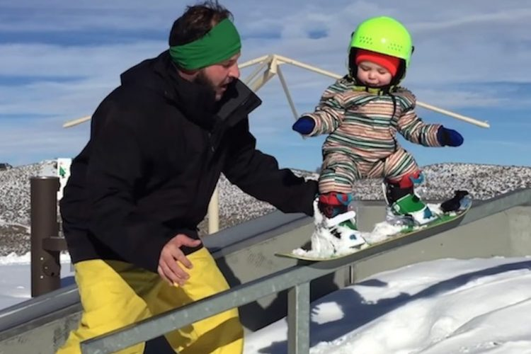 Baby Snowboarders Hitting The Slopes