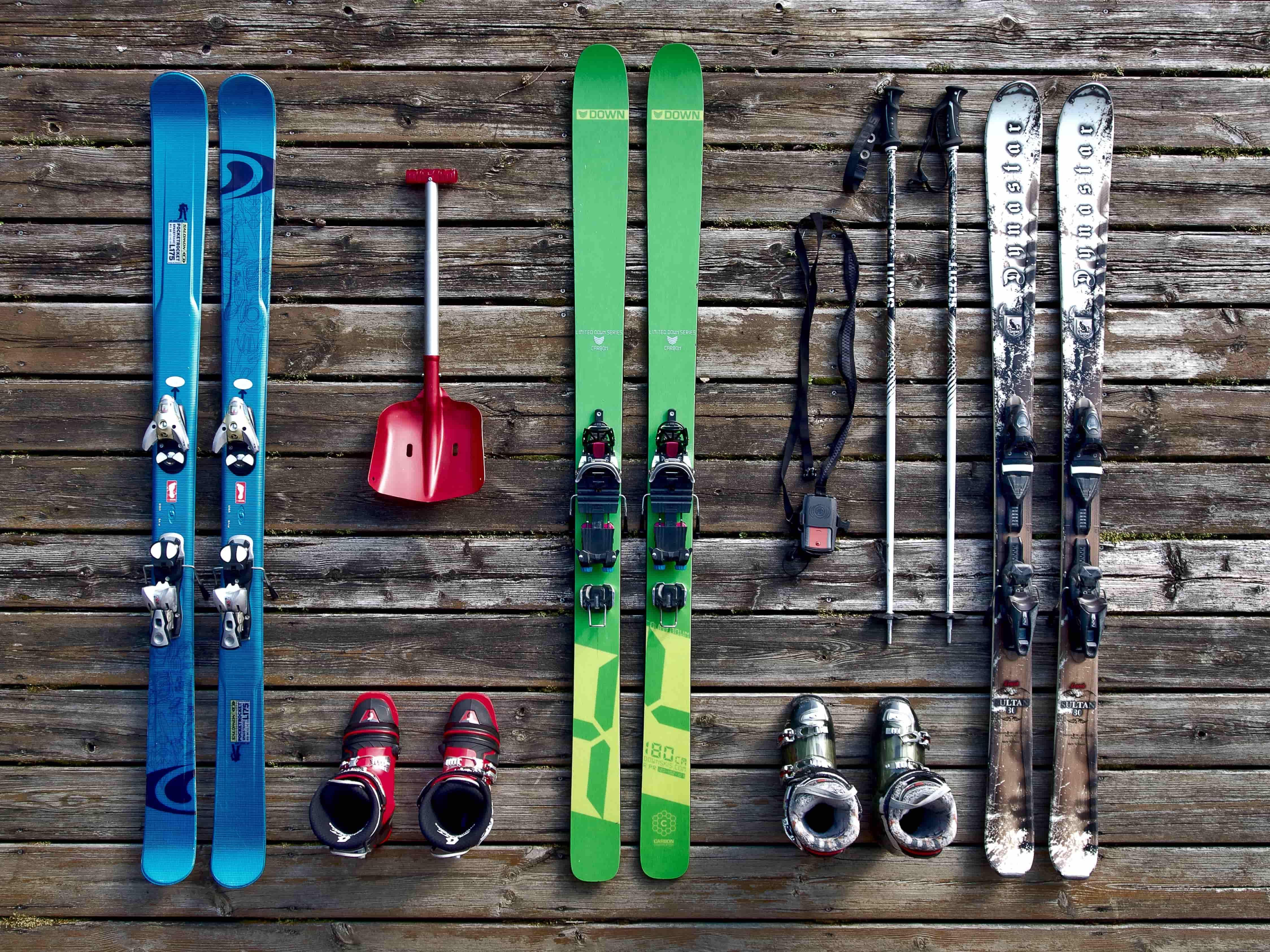 Skis, poles & ski boots.