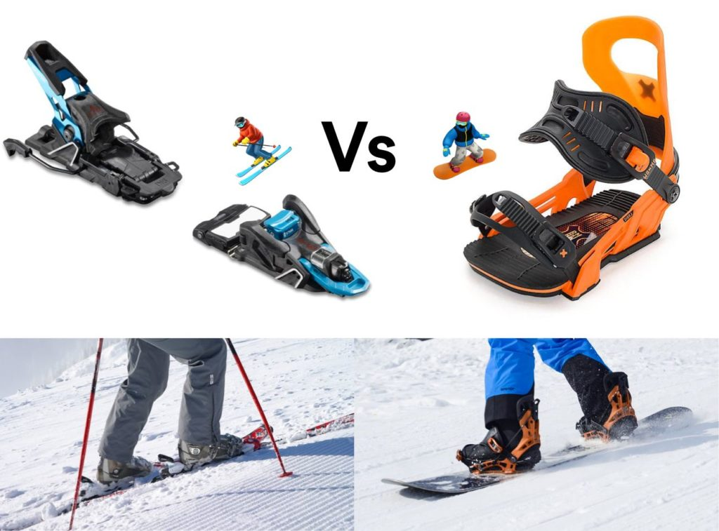 Ski bindings vs. snowboard bindings.