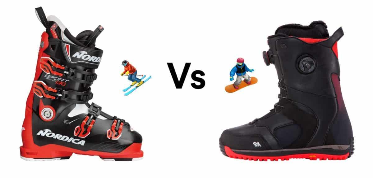 Ski boot vs. snowboard boot.